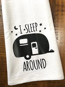 Just 4 U Gifts Happy Camper and I Heart Camping Towels with Teardrop Camper Salt and Pepper Shakers